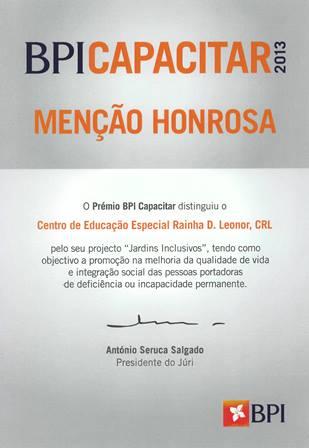 """Menção Honrosa Prémio BPI Capacitar 2013 Projeto """"Jardins Inclusivos"""""""